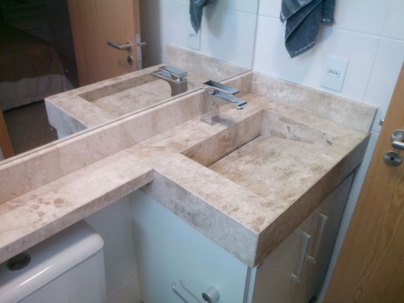 Banho social + cuba esculpida em pedra  MÁRMORE TRAVERTINO -> Cuba Banheiro Esculpida